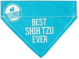 "Best Shih Tzu Ever Dog Bandana New Blue Slip On Over Collar Canvas 7"" x ... - $9.89"