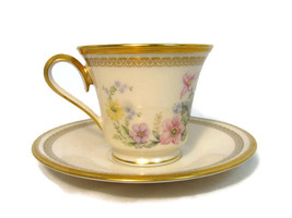 Lenox Set of Cup and Saucer Flower Song Bone China Floral Gold Trim USA - $19.79