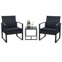 3 Pieces Patio Set Outdoor Wicker Patio Furniture Sets Modern Bistro Se - $145.12