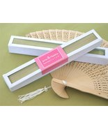 Sandalwood Fan in Glass Top White Box - Baby Shower Gifts & Wedding Favors - $8.73