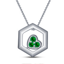Fancy Pendant With Chain 14k White Gold Over 925 Silver Round Cut Green Sapphire - $46.25