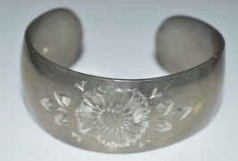 VTG REED & BARTON Pewter Flower Floral Cuff Bracelet - $44.55