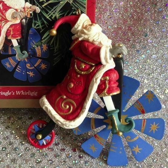 1999 HALLMARK ORNAMENT KRINGLE'S WHIRLIGIG - SANTA ON BICYCLE
