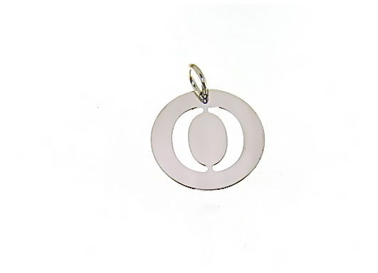 18K WHITE GOLD ROUND MEDAL WITH INITIAL O LETTER O MADE IN ITALY DIAMETER 0.5 IN