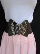"Women Waist Hip Brown Elastic Fashion Belt Big Pewter Bow Buckle 27""-35""... - $14.69"