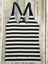 RALPH LAUREN Women's Black Off White Knit Pima Cotton Striped Tank Top M - $13.99
