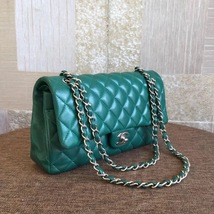 AUTH Chanel 2018 TURQUOISE GREEN LAMBSKIN MEDIUM DOUBLE FLAP BAG SHW image 5