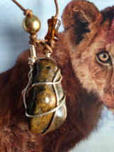 Wire Wrapped Lion Skin Quartz  Necklace - $25.00