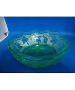 Westmoreland Glass green vaseline glass grape & leaf woolworth bowl circ... - $15.00