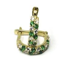 18K YELLOW GOLD MINI 10mm CIRCLE HOOPS EARRINGS, GREEN & WHITE CUBIC ZIRCONIA image 2