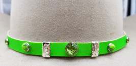 HATBAND NEON GREEN Genuine Leather with Green Rhinestone Crystals, Green... - €24,89 EUR
