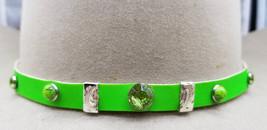 HATBAND NEON GREEN Genuine Leather with Green Rhinestone Crystals, Green... - $26.99