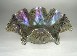 Imperial Bowl Smoky Carnival Glass Diamond Peacock Purple Ruffled Size 3... - $59.39