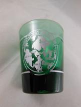 SAN JUAN GREEN Glass with Silver metallic design Shot Glass Vintage - $6.23