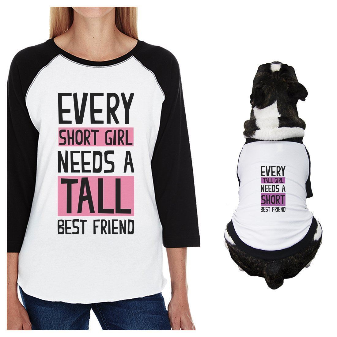 Tall Short Friend Small Dog and Mom Matching Outfits Raglan Tees