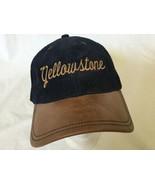 Yellowstone Strapback Leather Brim Blue Corduroy Hat Rare Must See - $37.39