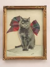 1917 antique CAT PHOTO embellished FABRIC RIBBON wood FRAME ORNAMENT COR... - $42.50