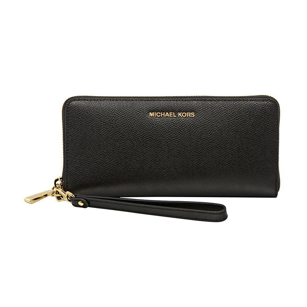 Primary image for Michael Kors Black Polished Pebbled Leather Zip Around Travel Wallet NWT