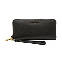 Michael Kors Black Polished Pebbled Leather Zip Around Travel Wallet NWT - $196.52