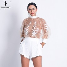 Missord 2018 Women Sexy  O Neck See Through Top Solid Color Short  Set L... - $27.09