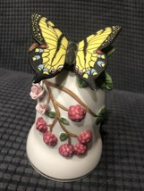 Vintage Lefton Butterfly & Roses Bell 1992 Hand Painted Porcelain SRN 0521 - $29.69