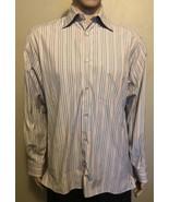 Men's Ermenegildo Zegna LS Striped Casual Shirt Medium  Peach Blue Brown... - $29.02