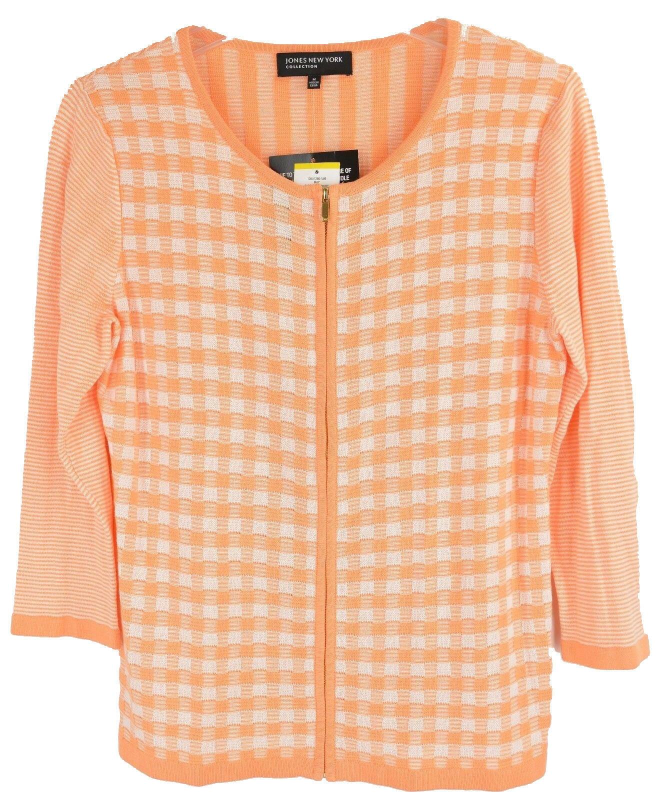 4635-2 Jones New York Collection Full Zip Cardigan Sweater Sherbert White, M $89