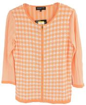 4635-2 Jones New York Collection Full Zip Cardigan Sweater Sherbert White, M $89 image 1