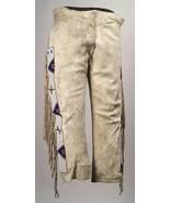 Old Style Native American Beige Buckskin Buffalo Suede Leather Fringes P... - $179.10+
