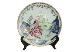 """Beautiful Chinese Floral Tobacco Leaf Style Porcelain Plate 12"""" - $138.59"""