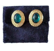 Vintage Trifari Large Emerald Green Cabochon Stones Gold Tone Signed Sta... - $34.64
