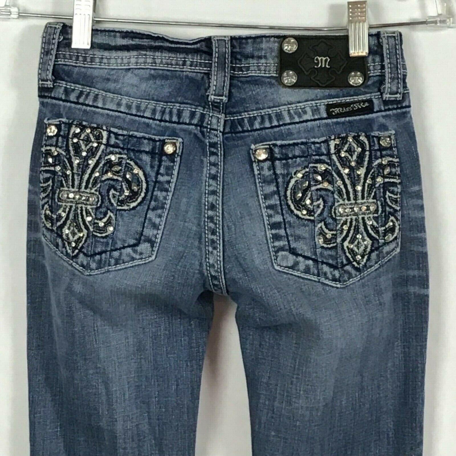 Miss Me Jeans Girls Size 14 Jeans Fleur De Lis BLING Bootcut Distressed B6-9