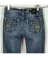 Miss Me Jeans Girls Size 14 Jeans Fleur De Lis BLING Bootcut Distressed ... - $25.39