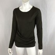 Ann Taylor NEW Top Women Small Merino Wool Faux Wrap Long Sleeve Dark Gr... - $24.99