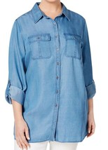 Top 0X Plus Style&Co NWt Blue Collared Button Down top Shirt TM416 - $25.74