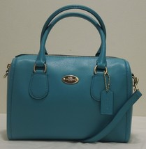 COACH Crossgrain Leather Mini Bennett Satchel, Shoulder bag, F33329, Blu... - $125.00