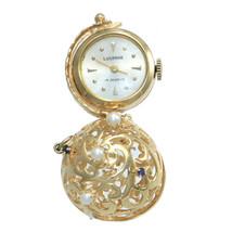 14k Yellow Gold Lucerne Sapphire Pearl Hand Wind Pocket Watch Ball Pendant - €1.379,35 EUR