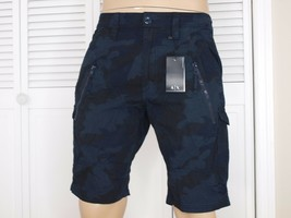 Armani Exchange Authentic Utility Zipper Detail Shorts Blau Nwt - $42.99