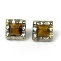 Vintage Tiger's Eye Silver Tone Pierced Square Earrings - $18.77