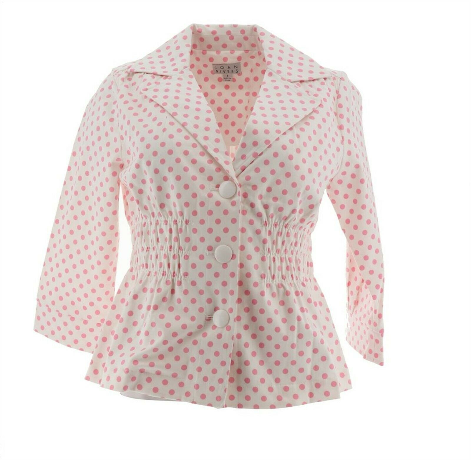 Primary image for Joan Rivers Polka Dot Signature Jacket 3/4 Slvs White Pink 16 NEW A262517