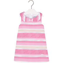 Mayoral Little Girls 2T-9 Light Fuchsia-Pink Jacquard Stripe Social Party Dress image 1
