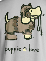 Puppie Love Rescue Dog Adult Unisex Short Sleeve Cotton Tee,Army Camo Pup - $19.99