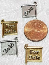 FOR SALE / SOLD SIGN FINE PEWTER PENDANT CHARM - 13.5x15x1.5mm image 2