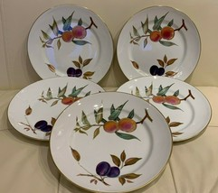 Royal Worcester EVESHAM Peaches and Plums Gold Rimmed Dinner Plates Set ... - $93.06
