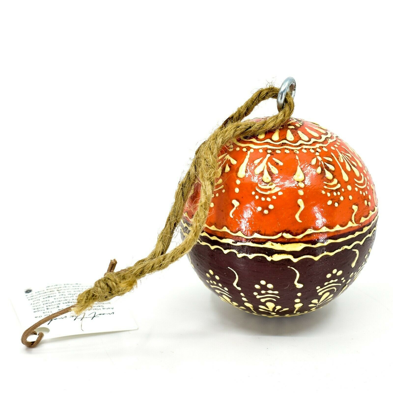 Asha Handicrafts Hand Painted Mango Wood Floral Holiday Christmas Ornament