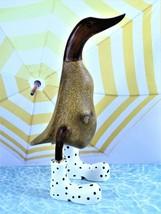"Grayson Lane Handcrafted Wood Statuary Duck Wearing Rain Boots 10.5"" Tal... - $36.62"