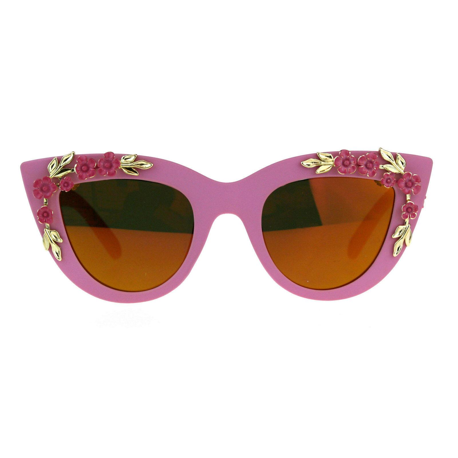 Womens Oversize Cat Eye Mirror Lens Flower Jewel Sunglasses