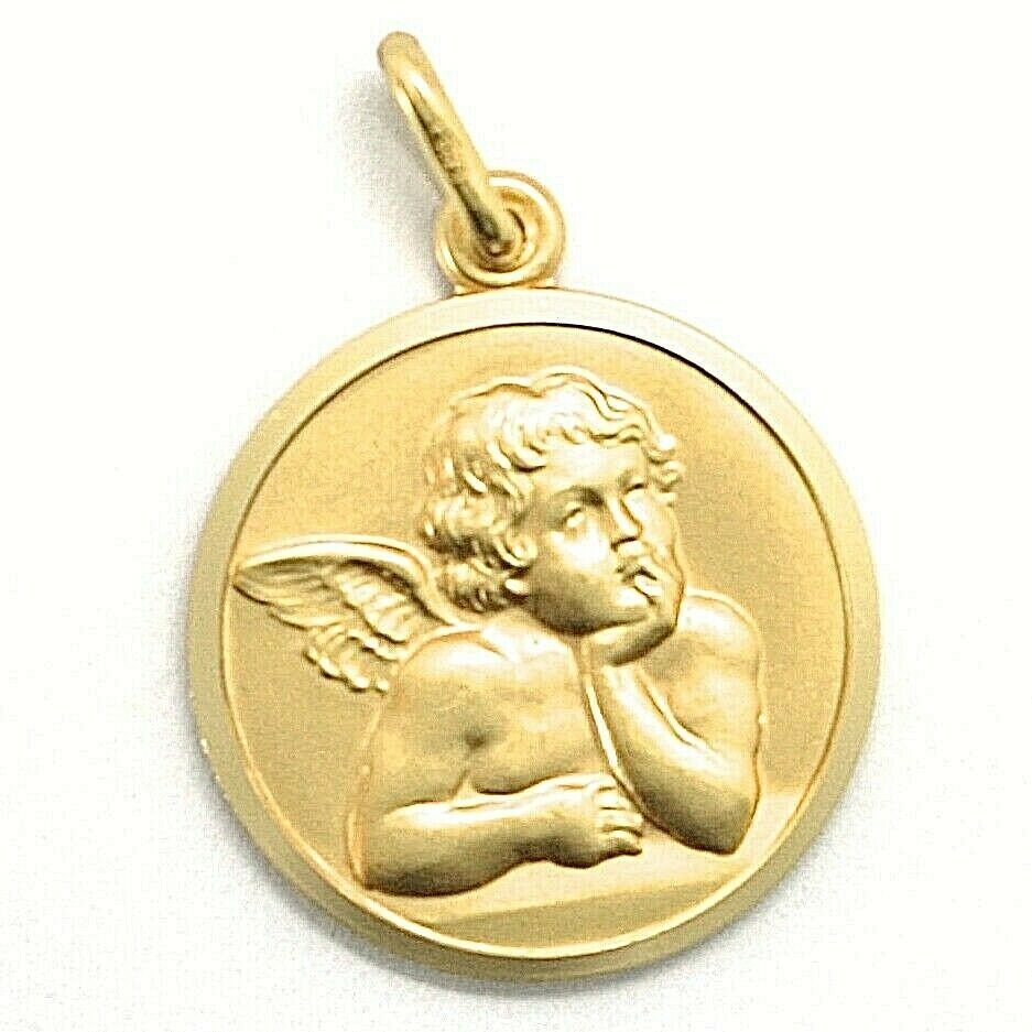Primary image for SOLID 18K YELLOW GOLD MEDAL, GUARDIAN ANGEL, 19 mm DIAMETER, VERY DETAILED