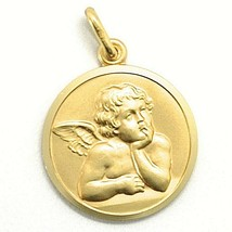 SOLID 18K YELLOW GOLD MEDAL, GUARDIAN ANGEL, 19 mm DIAMETER, VERY DETAILED - $575.00