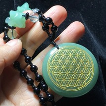 Green Aventurine Crystal Flower of Life Pendant&Merkaba Star Necklace 60g - $15.79
